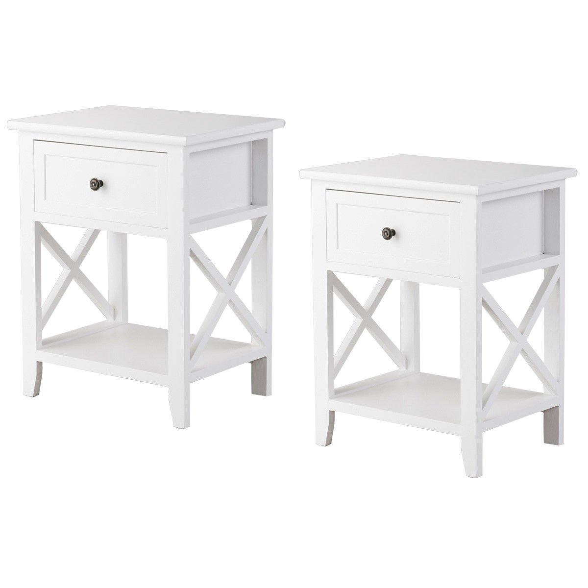 Giantex Set of 2 Wooden Nightstand W/Drawer and Bottom Open Shelf Stable Frame for Bedroom Home Furniture X-Shape, White End Bedside Table