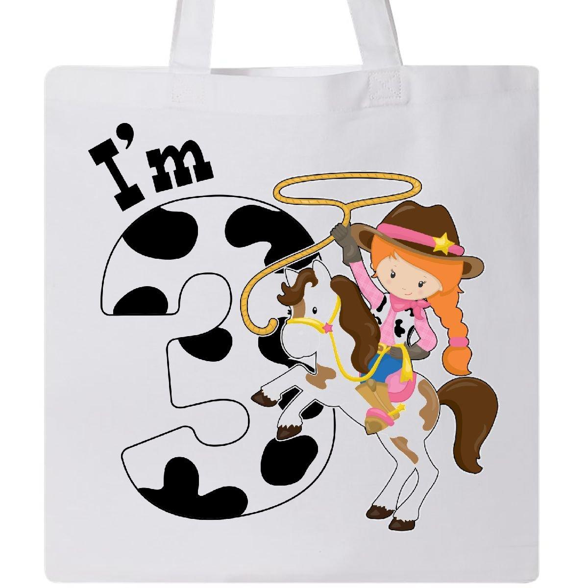 Inktastic - I'm Three-cowgirl riding horse birthday Tote Bag White 2ca54