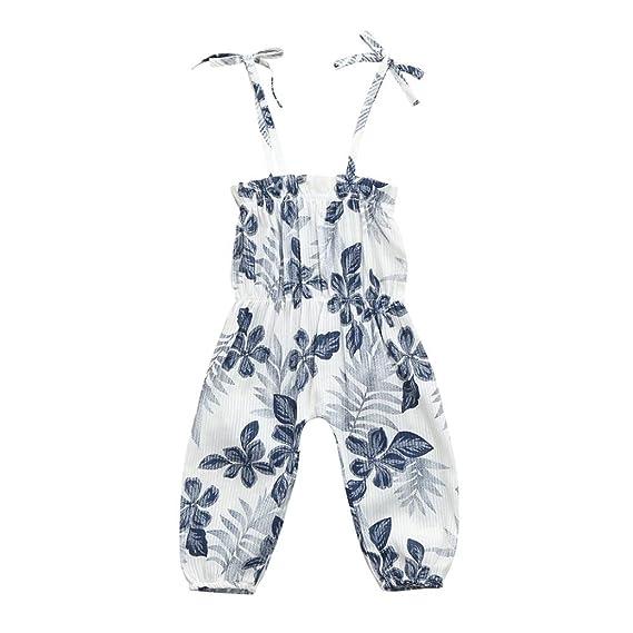PAOLIAN Monos Ropa para Niñas Verano Pantalones de Tirantes Impresion de  Florales Diseño de Sling Conjuntos de 6 Mese 9 Mese 12 Mese 18 Mese 24  Meses 3 Años ... 4af992b0e42