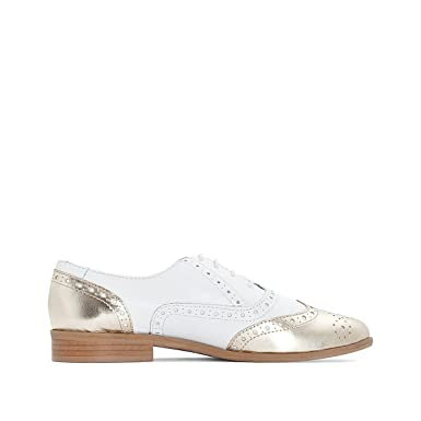3fd0fd6b4e6b9 Amazon.com: La Redoute Collections Womens Leather Brogues With Gold ...