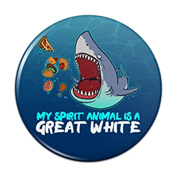 af6c2e171 My Spirit Animal is a Great White Shark Who'll Eat Anything Funny Compact  Pocket