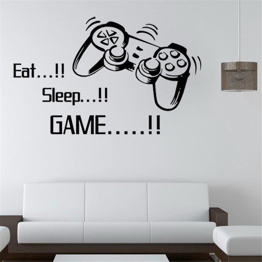 LnLyin Wohnzimmer Wand Aufkleber EAT SLEEP GAME Schlafzimmer Hintergrund Wand-Sticker