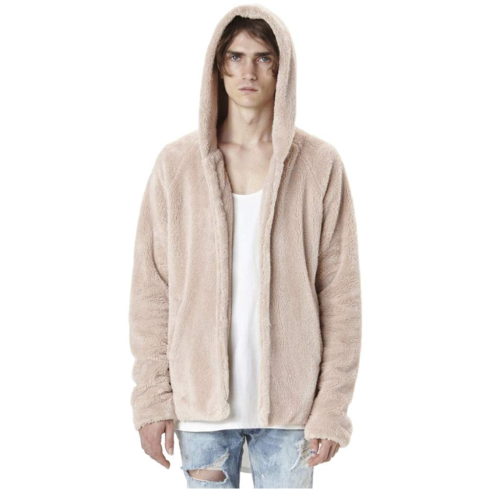 Serzul Fashion Mens Autumn Winter Casual Loose Double-Sided Plush Hoodie Warm Coat Top
