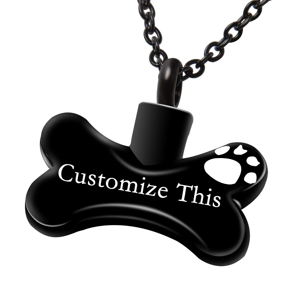 Fanery Sue Dog Bone Personalized Custom Cremation Jewelry Urn Necklace for Ashes Keepsake Dog Cat Pet Memorial Pendant(Black) by Fanery Sue