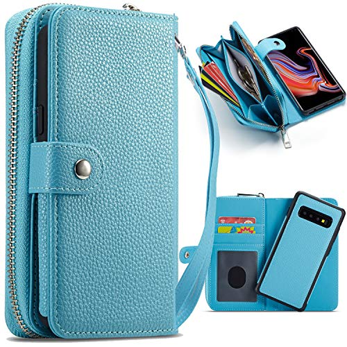 (Galaxy S10 Plus Wallet Case, XRPow Magnetic Detachable Wallet PU Leather Protective Shell Slim Shock Folio Flip Removable Carrying Purse Case Card Holder for Samsung Galaxy S10 Plus Sky Blue)