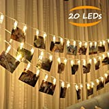 JESWELL LED Photo Clip String Lights, 20 Photo Holder Clips Fairy Light Battery Operated For Hanging Photos Pictures Art, Flash/On/Off Switch, Decorative String lights for Bedroom Home Birthday Party Christmas (Warm White)