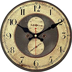 ShuaXin Retro Brown Wall Clock,12 Inch Antique Wooden Creative Design Arabic Numerals Wall Clock Non Ticking Silent Quiet Wall Clock for Office Decor