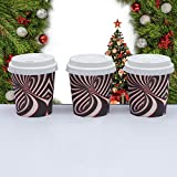 small coffee cups with lids - Espresso Disposable Paper Cups with Unique Design for Espresso Enthusiast. (4oz cups & Lids)