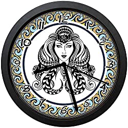 BCWAYGOD Beautiful Artistic Ancient Zodiac Sign Design Cartoon Icon - Virgo Round 12 Silent Quartz Decorative Wall Clock Non-Ticking Classic Digital Clock (Black)