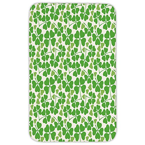 Rectangular Area Rug Mat Rug,Irish,Gaelic Nature Garden Decor Spring Clovers with Cute Hearts Freshness Decorative,Lime Green Pistachio White,Home Decor Mat with Non Slip Backing by iPrint