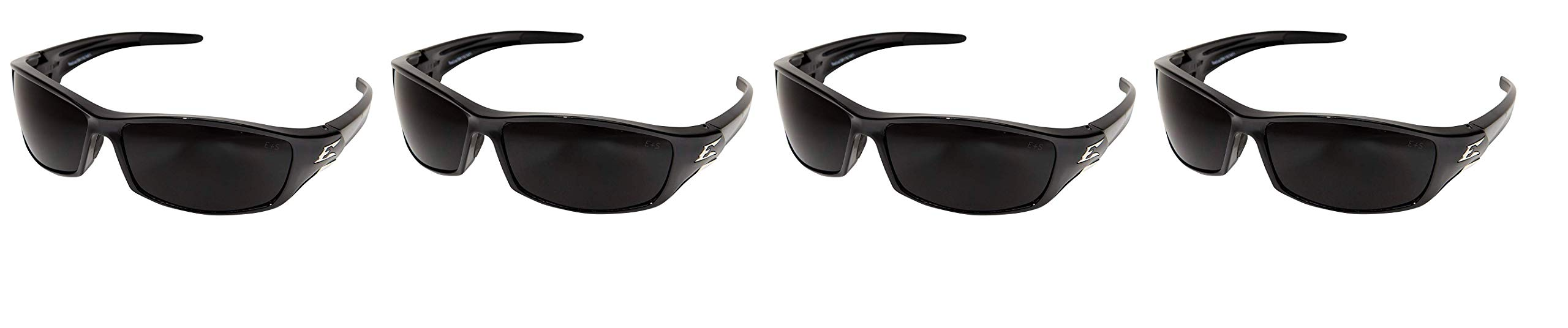 Edge Eyewear SR116 Reclus Safety Glasses, Black with Smoke Lens (Fоur Paсk) by Edge Eyewear