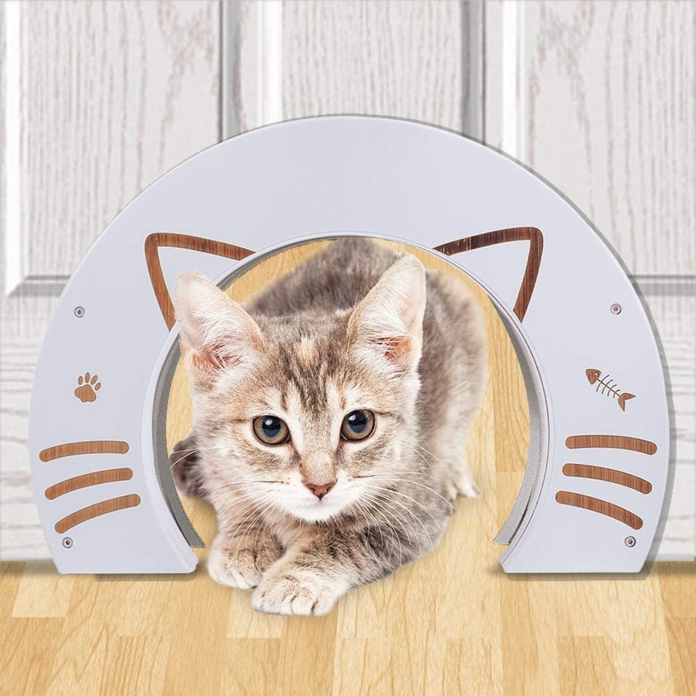 EXPAWLORER CatDoorsforInterior Doors - Bamboo Pet Door for Kitty Puppy Pass Hidden Litter Box Furniture Hole Door Fits Small Medium & Large Cats
