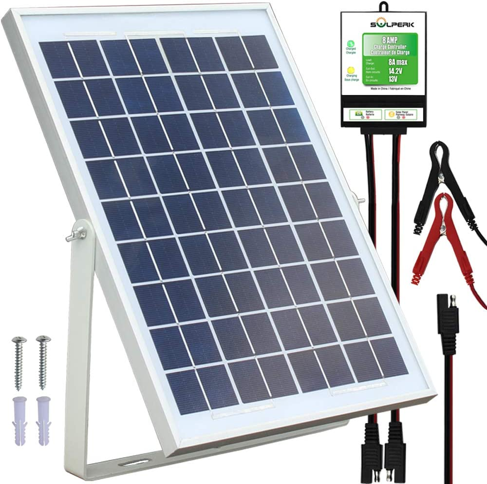 SOLPERK 10W Solar Panel 12V Solar Panel Charger Kit 8A Controller Suitable for Automotive, Motorcycle, Boat, ATV, Marine, RV, Trailer, Powersports, Snowmobile etc. Various 12V Batteries. 10W Solar