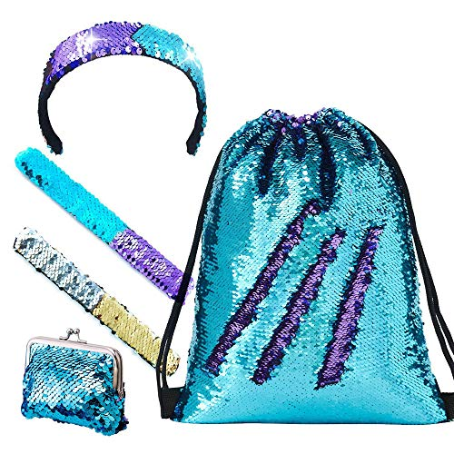SUPRBIRD Mermaid Sequin Drawstring Bags, Magic Reversible Glitter Gym Dance Bags Flip Sequins Backpack Bags Shining Sports Backpack with Bracelet & Headband