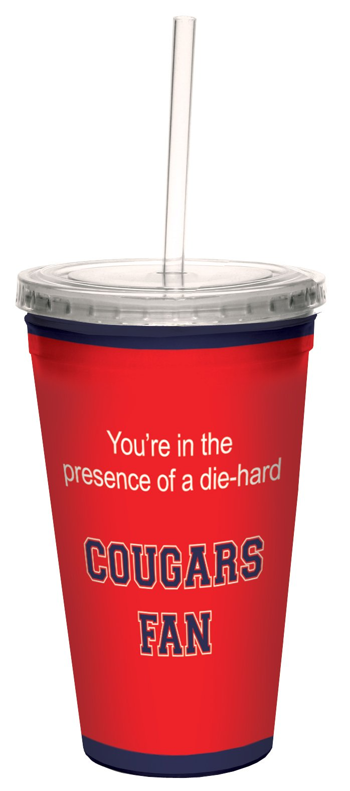 Tree-Free Greetings cc34732 Cougars College Basketball Artful Traveler Double-Walled Cool Cup with Reusable Straw, 16-Ounce