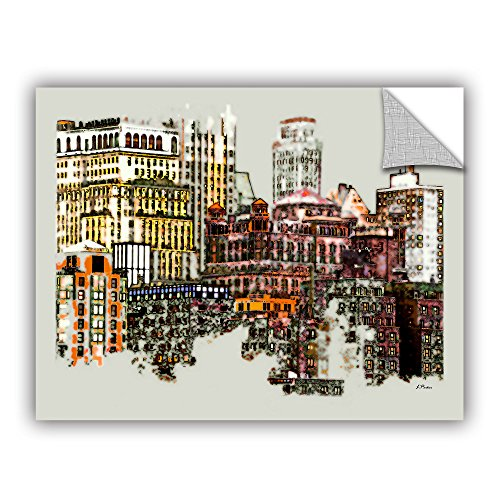Manhattan Graphics - ArtWall Linda Parker's NYC Manhattan Cluster Appeelz Removable Graphic Wall Art, 36 by 48
