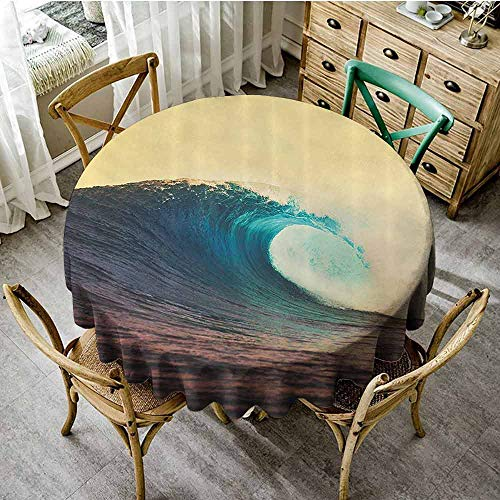 SEMZUXCVO Leakproof Round Tablecloth Ocean Decor Suitable for Everyday use Ocean Breaking Wave at Sunset in Warm Colors Seacoast Seasonal Picture Art D71 Turquoise Yellow Brown from SEMZUXCVO