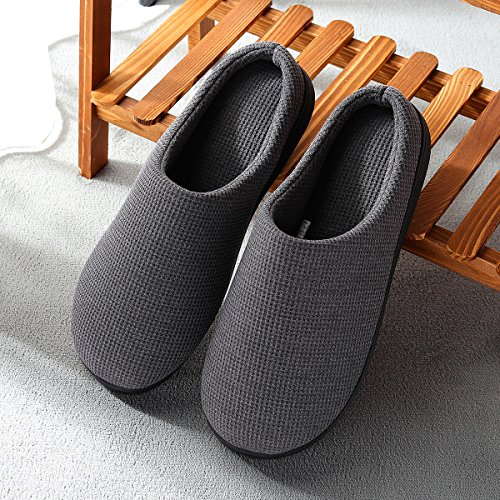 Cozy Spa House Indoor Slippers for Men Warm Lining Clog Slippers Dark Gray L by Harrms (Image #3)