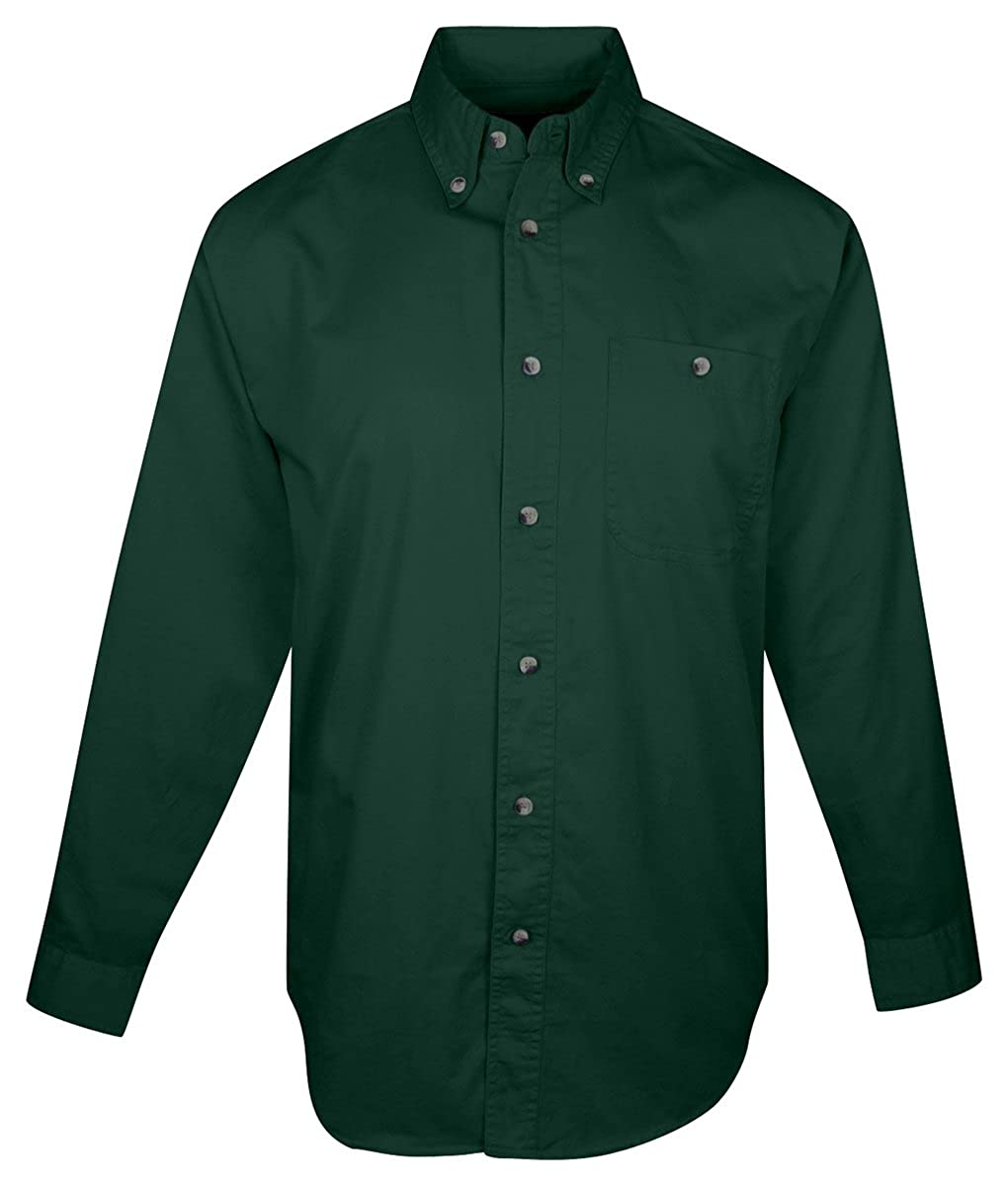 Tri-Mountain Big and Tall 6 oz Cotton Long Sleeve Twill Shirt Forest Green