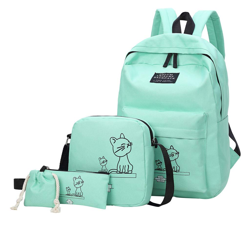 Lightweight Backpack for School, Yezijin Fashion Women's Outdoor Four-Piece Zip Nylon Solid Color Backpack Travel Bag Large Capacity Backpack for School Teenager Girl Boy Under 10 Dollars