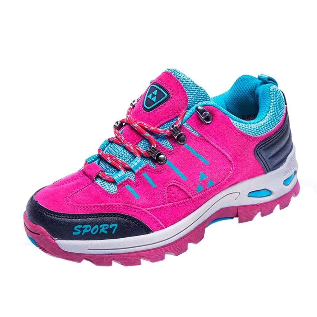 Dreamyth メンズ レディース カジュアル レースアップ 登山靴 ブーツ 快適 スポーツ ランニング ハイキング トレッキング 登山 防水シューズ ホットピンク US:8