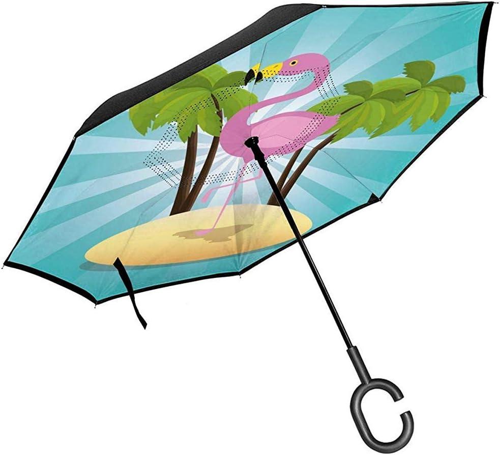 Merle House Pájaro Flamenco exótico en la Playa Imagen Vectorial Sombrilla inversa Sombrillas invertidas de Doble Capa para Lluvia de automóvil al Aire Libre con manija en Forma de C