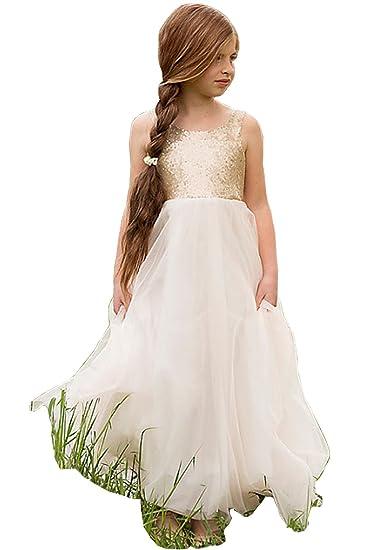 5f31972d00 DYS Girl's White Flower Girls Dresses Long Tulle Sequined Wedding Party  Dress
