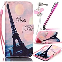 Sunroyal Paris Eiffel Tower Rosa Pink Bottom Pattern Case Premium Folding Wallet Case for Apple iPhone 5 5G 5S, 3 in1 Accessories Set PU Leather Case Book Style Flip Wallet Leather Cover Case with Magnetic Closure [ Card Slots ] [ Stand Function ] TPU Crystal Silicone Back Case + Cute Anti Dust Plug + Metal Touch Stylus Pen