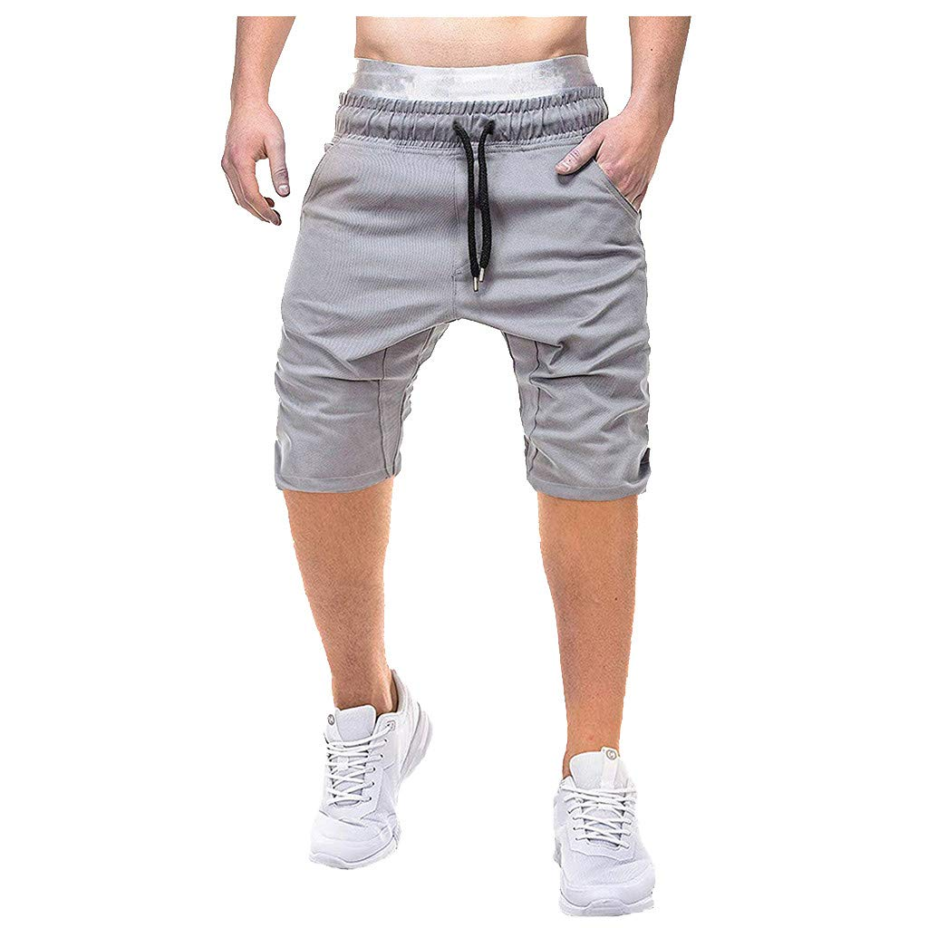 AHAYAKU Fashion Men's Csual Pure Color Pocket Overalls Wind Overalls Shorts Gray