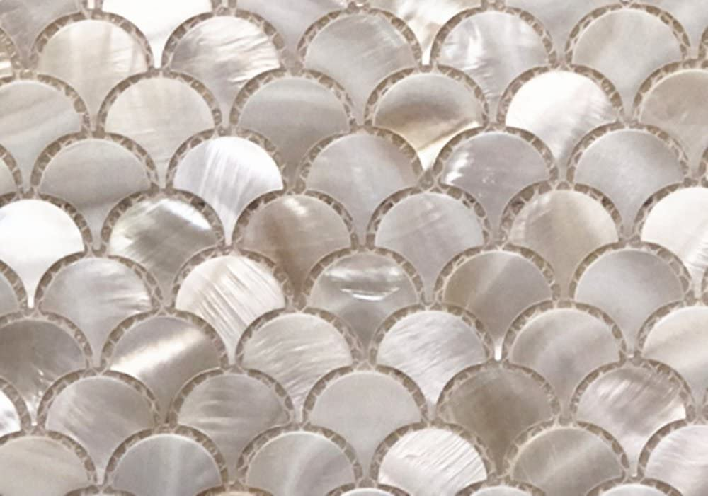 Genuine White Fish Scale Mother Of Pearl Mosaic Tile Sample Swatch For Bathroom Kitchen Spa Backsplash One 4 X6 Sample Amazon Com
