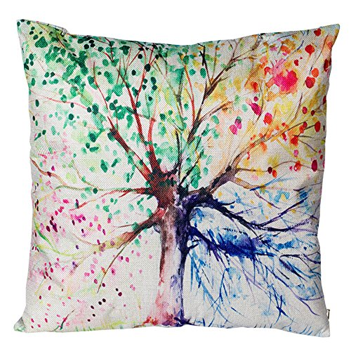 Decorative Throw Pillow Covers Four Seasons Spring Tree of Life Couch Pillows Cover 18 x 18 Inch