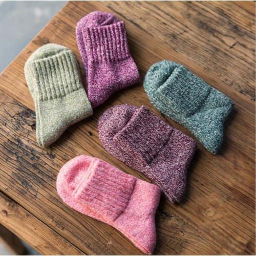 5pares Mujer Calcetines de lana de la cachemira de espesor de invierno cálida y suave sólido Casual Deportes