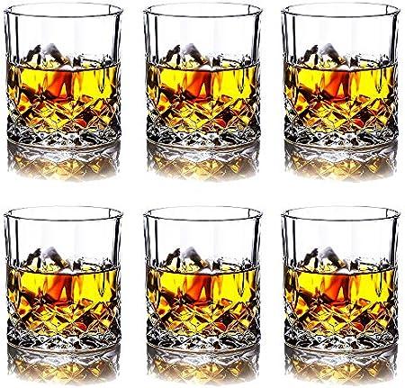 Juego de 6 vasos de whisky con grabado de flores, vasos de cristal sin plomo, estilo roca estilo antiguo para beber whisky, bourbon, coñac, whisky irlandés y cócteles antiguos.