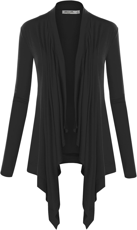 Lock and Love Women's Basic Draped Long Sleeve Open Front Knit Cardigan S - XXXL Plus Size