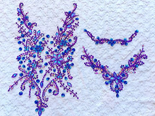 - Handmade Crystal Patches Sew on Purple Rhinestones Applique on Mesh Trim for Dress Front and Back 50x30cm
