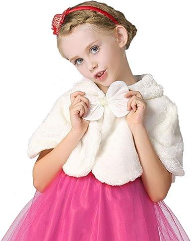 Kids Baby Toddler Girls Princess Faux Fur Winter Shawl Jacket Coat Outerwear