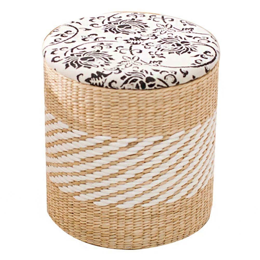Wood-color 3841cm Stool Classical Simple Circular Storage Stool Solid Wood shoes Bench Handmade Rattan Sofa Bench CONGMING (color   Wood-color, Size   40  34  45cm)
