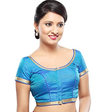 297a2e040ab2d Bollywood Blouses Women s Readymade Back Open Lace Saree Blouse Medium Blue