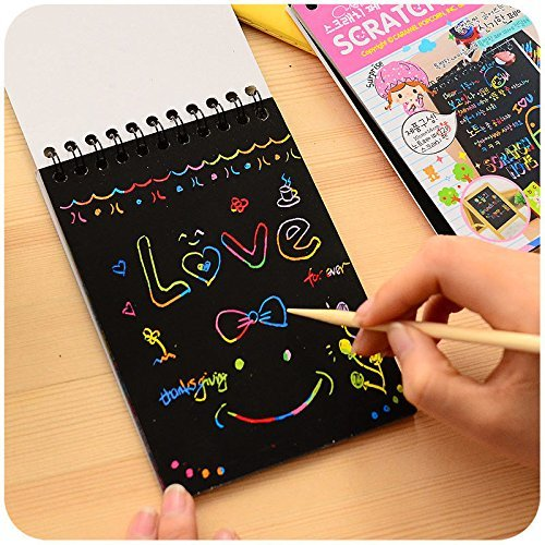 - Estore Rainbow Mini Scratch Art Notes/Notebook Scratch Wooden Stylus Scratch Paper 12 Pages, Large Size