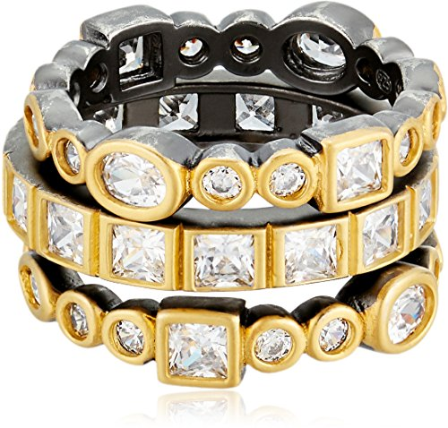 Freida Rothman Womens Signature Mixed Stone Radiance Set Of 3 Stackable Ring