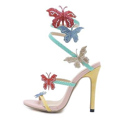 ZYQME Frauen Open Toe Schmetterling High Heels Straps Strappy Stilettos Pump Heels Kleid Party Sandalen