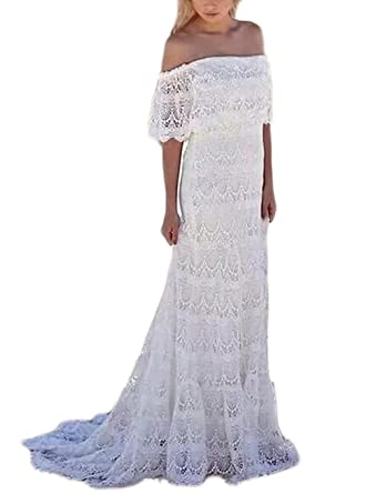 86bfb41def5d6 Veilace Women's Lace Bohemian Summer Beach Wedding Dress Off The Shoulder  Boho Bridal Gowns at Amazon Women's Clothing store: