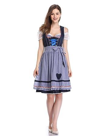 KOJOOIN Trachten Ladies Dirndl Short - Midi Vestido Tradicional ...