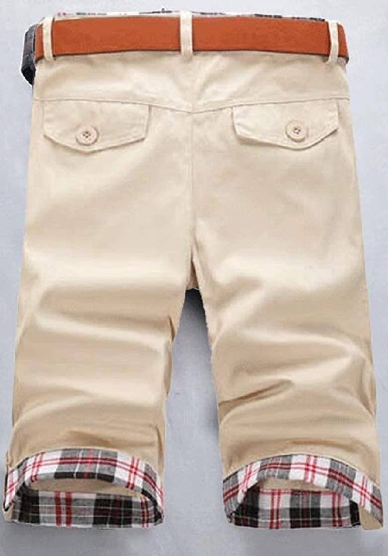 Joe Wenko Mens Summer Flat-Front Business Pants Casual Straight Leg Short