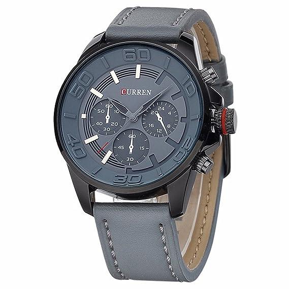 HWCOO 8187 auténtica Correa de los Hombres Falsos Tres Relojes Casuales de Moda Coreana (Color