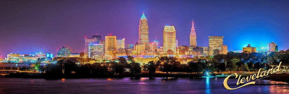 Cleveland Skyline 2018 Photo Print UNFRAMED Night Color City Downtown 11.75 inches x 36 inches Ohio Photographic Panorama Poster Picture Standard Size