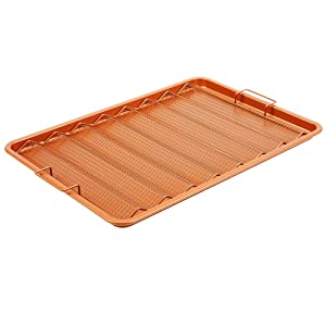 "Copper Chef Oven Crisper Tray for Bacon & More | Baking Sheet & Air Crisper Pan | Use Hot Air to Crisp & Fry Bacon Without Oil or Fat | Non Stick & Dishwasher Safe 13"" X 11"""