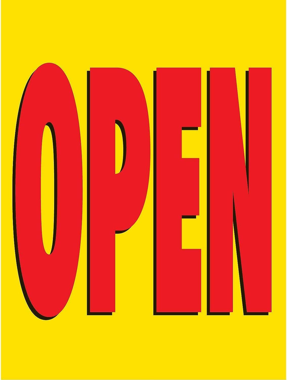 Open Vinyl Banner -Indoor//Outdoor 3X6 Foot -Yellow Includes Zip Ties HALF PRICE BANNERS Easy Hang Sign-Made in USA