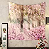 Madeleine Ellis Custom?tapestry falling petal over the tunnel of pink flower trees romantic cherry blossom on nature background in