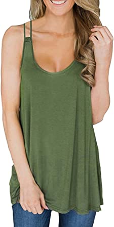 Reversible Cami Top Scoop or V-Neck Tank Solid Layering Basic Loose Tunic Knit